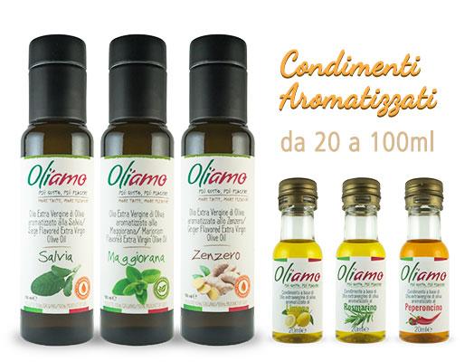 Olio EVO aromatizzato monodose in bottiglia