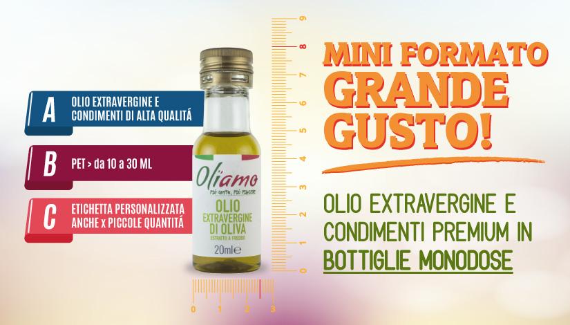 Olio Extravergine monodose in bottiglia di PET
